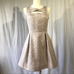 Frenchi Light Pink Metallic Fit & Flare Dress